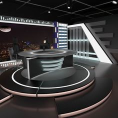 Buy Virtual TV Studio News Set 11 by on Virtual sets that are required for any modern show for TV channels. - Is a high quality model to add mo. Virtuelles Studio, Studio Table, Studio Setup, News Studio, Audio Studio, Film Studio, Tv Set Design, Stand Design, Booth Design