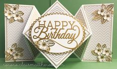 handmade birthday card ... large diamond fold from www.clairmatthews.com ... white and gold ...