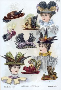 Hats Fashion Plate - The Delineator, November 1896. Victorian millinery, hat fashions.