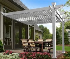 Elysium Attached Louvered 12 Ft. W x 12 Ft. D Vinyl Pergola