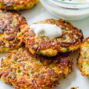 Zucchini Fritters with Garlic Herb Yogurt Sauce-4