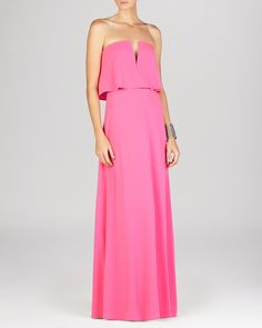 BCBGMAXAZRIA Gown - Alyse Strapless Notched Blouson   Bloomingdale's