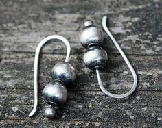 Navajo pearl sterling silver dangle earrings