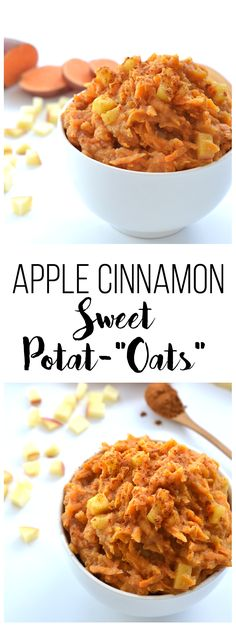 "These Apple Cinnamon Sweet Potat-""oats"" are the perfect Paleo & Whole30 breakfast option or oat alternative!"