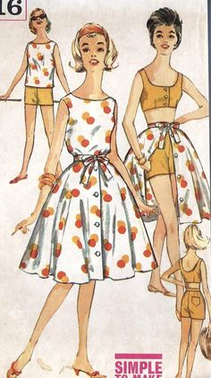 """1960s Misses Beach Top, Bra, Shorts and Skirt Vintage Sewing Pattern, Mad Men, Summer Fashion, Simplicity 3916 Bust 32"""". $12.00, via Etsy. (Vintage Top Bra)"""