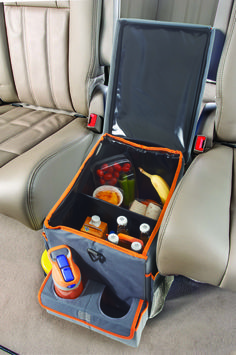 A between-the-seats lined and insulated cooler that also holds drinks and has 8 storage pockets. Oh, and did we forget to mention that the flip-top lid serves as a snack and game tray? Yup, all of the above. www.highroadorganizers.com