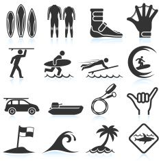 Surfing Vacation black & white royalty free vector icon set vector art illustration