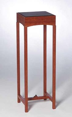 Deco Pedestal With Leather Top by Chris Horney: Wood Side Table available at www.artfulhome.com