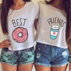 H599 Summer Women T-shirt Cute T Shirt Donut And Coffee Duo Flowy Print Funny Best Friends Tees Tshirt Couple Tops