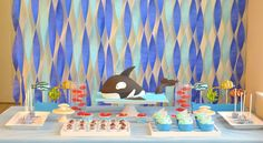 Under the Sea Party with Lots of Cute Ideas via Kara's Party Ideas Shark Fin Cupcakes, Happy Bday Cake, Fun Party Themes, Party Ideas, Whale Cakes, Fish Cookies, Cute Octopus, Cute Whales, Fourth Birthday
