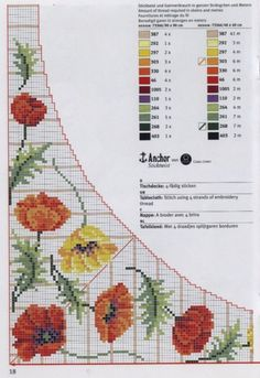 Cross-stitch Colorful Poppies Tablecloth pattern, part 1..  with the color chart...   Gallery.ru / Фото #38 - rico3 - vira-pagut