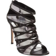 Gianvito Rossi Metallic Cutout Sandal Bootie ($489) ❤ liked on Polyvore featuring shoes, heels, black shoes, boots, shoes black, silver, kohl shoes, black cut out shoes, metallic leather shoes and black open toe shoes