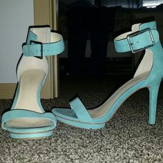 Calvin Klein Vivien Sandal Teal Calvin Klein Vivien sandal, worn once. In near perfect condition. Firm price. Calvin Klein Shoes Heels