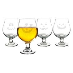 Cathys Concepts Jack-O-Lantern Belgian Beer Glasses - Set of 4 - HW15-1105