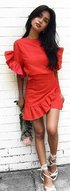 #winter #outfits red crew neck trumpet-sleeved dress. Pic by @beginningboutique.