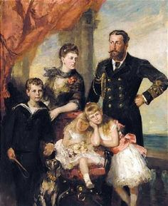 The Edinburgh Family - portrait: Prince Alfred, Grand Duchess Maria Alexandrovna, Prince Alfred, Princess Marie, and Princess Victoria Melita