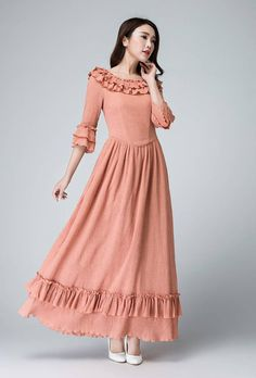 Pink Linen maxi dress - Feminine long dress with ruffle deatil - 2016 pary dress - three quaiter sleeve dress - spring dress  1474