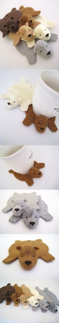 bear rug coasters; too cute