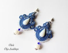 "Earrings ""Blue Cloud"" soutache, crystal and glass beads, Japanese beads"