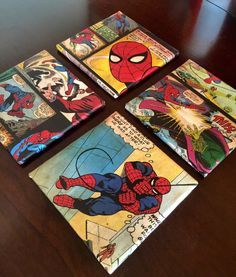 Comic book coaster, spiderma n coasters, marvel coasters, comics, superhero coaster, set of 4 by AshMarProjects on Etsy https://www.etsy.com/listing/246579494/comic-book-coaster-spiderman-coasters