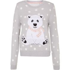 Grey Polka Dot Polar Bear Christmas Jumper (€8,20) ❤ liked on Polyvore featuring tops, sweaters, shirts, christmas, polka dot sweater, christmas sweaters, grey long sleeve shirt, gray sweater and xmas sweaters