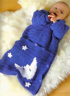 Yıldızlı el örgüsü bebek uyku tulumu modeli