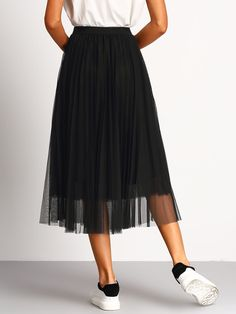 Pleated Elastic Waist Tulle Skirt   SHEIN USA Flare Skirt, Flare Dress, Midi Skirt, Black Pleated Skirt, Pleated Fabric, Pleated Skirts, Tulle Skirts, Skirt Outfits, Chic Outfits