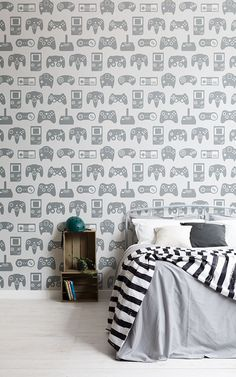 achieve a cool boys teenage bedroom with these blue wallpaper designs adding a fun feature