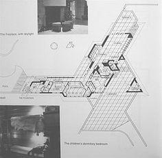Floor Plan - Fountainhead / 306 Glen Way, Jackson, Mississippi / 1950 / Usonian / Frank Lloyd Wright Triangle Building, Usonian House, Frank Lloyd Wright Buildings, Graduation Project, Education Architecture, Triangle Design, Grid Design, Floor Plans, Jackson Mississippi