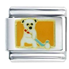 Pugster Golf Sports Italian Charm Bracelet Pugster. $5.99. Note: Soldered On (Not Glued). Links: 1. Paint Type: Enamel Painted. Metal: Stainless Steel. Plating: Gold Plated