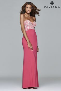 Jersey strapless evening dress with sweetheart neckline and lace appliqué. #Faviana Style S7715