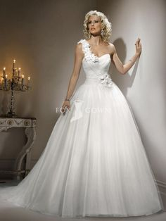 designer wedding dress tulle ballgown skirt with handmade flowers and petals on one-shoulder