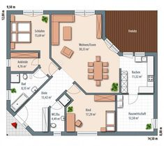 Bungalow Grundrisse Edition 126 floor_plans 0 Speaking of workplace fashions, if you want to focus m Education Architecture, Facade Architecture, Residential Architecture, Casa Patio, Design Apartment, Architectural Design House Plans, Building A House, Floor Plans, House Design