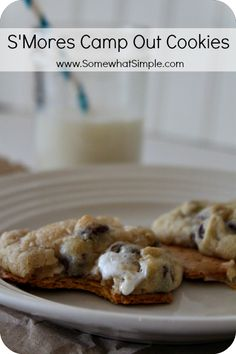 Chocolate Chip Cookies with Marshmellows baked right on top of a graham cracker- YUM!