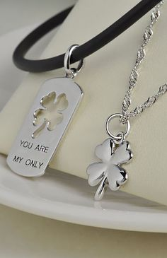 3bb1050df1 Four Leaf Clover Pendants Set. His And Hers JewelryCouple ...