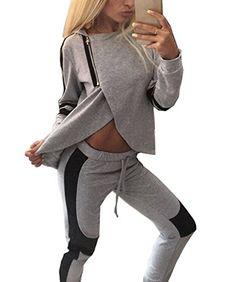 ZEARO  Damen  Fitness  Pullover  Hose  Sportanzug  Jogginganzug  Hausanzug 6ce2e5068f