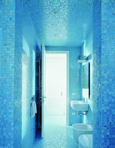 This gorgeous mosaic tile bathroom features Bisazza Audrey glass mosaic tile. In many shades of turquoise, aqua and blues, this elegant tile is perfect for many different bathroom applications, including flooring, walls and back splash designs. Small Bathroom Tiles, Mosaic Bathroom, Bathroom Marble, Bathroom Sets, Bathroom Designs, Verre Design, Tile Design, Budget Bathroom, Bathroom Renovations