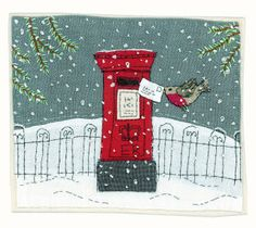Sharon Blackman: christmas designs - so lovely! Freehand Machine Embroidery, Free Motion Embroidery, Fabric Cards, Fabric Postcards, Christmas Applique, Christmas Embroidery, Christmas Quilting, Christmas Sewing Projects, Xmas Crafts