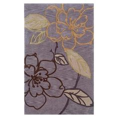 Trio Collection Space Dyed Area Rug - Floral Outline