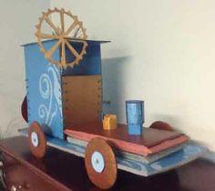 steam punk train made from cardboard
