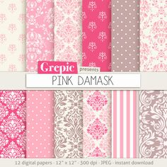 Pink damask digital paper: PINK DAMASK digital paper by Grepic
