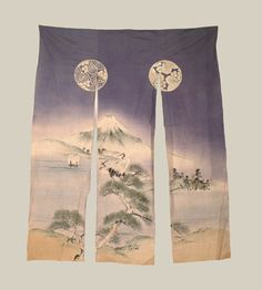 """Late Edo to Early Meiji (1840-1900), A cotton wedding Kaga noren (split doorway curtain) featuring sume e painting of Mount Fuji. The pine represents longevity, while the mandarin crane stands for good fortune and long life. Buddhists found in Mt Fuji an inspiring symbol of meditation and called its summit """"zenjo,"""" a Buddhist term describing a perfect meditative state.  51"""" wide x 66"""" height.  Yorke Antique Textiles"""