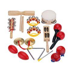 Andoer® Kit Set di Percussioni per Bambini Piccoli Strumenti Musicali Giocattoli Banda Ritmo con il Caso: Amazon.it: Strumenti musicali e DJ