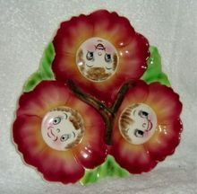 Vintage Anthropomorphic PY Cabbage Rose Red Tidbit Relish Tray Smiling Flowers