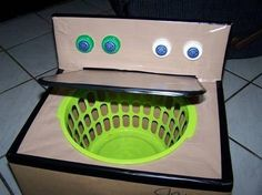 DIY cardboard box washing machine for dramatic play and would be a great place to put their dirty clothes. unseen till mom washes them. Projects For Kids, Diy For Kids, Cool Kids, Crafts For Kids, Craft Projects, House Projects, Baby Crafts, Crafts To Make, Carton Diy