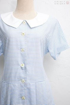 3db385c6e462 Pierre Cardin Dress   Vintage 1980s Dress   Cotton Shirt Dress   Designer  Vintage Dress   White Blue Striped Nautical Dress   Pleated Skirt