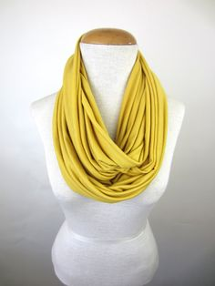 Light Mustard Infinity Scarf  Gold Jersey by CatStitchClothing