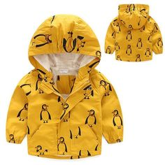 New Style in Autumn 2017 Kids Baby Boy Penguin Patten Printed Hooded Windproof Rain Coat Waterproof Jacket Outerwear Clothes #Affiliate #babyraincoat #babyboycoats