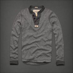 NWT ABERCROMBIE & FITCH MEN Ouluska Pass HENLEY T-Shirt Light Grey New M
