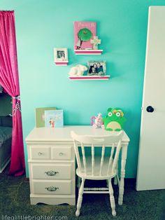 Antique Girl's Desk & diy coordinated shelves // Life a Little Brighter #deskarea